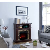 Bold Flame 36 inch Faux Marble Electric Fireplace Heater in Walnut