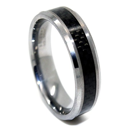 Slim 6mm Tungsten Carbide Black Carbon Fiber Wedding Band (Size 4-16)