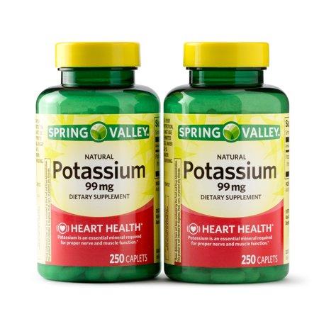 Spring Valley Potassium Caplets, 99 mg, 250 Ct, 2 Pk