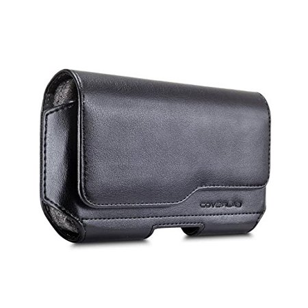 Hard Protective Pouch - LG Stylo 4 / Q Stylus Pouch Case, [XL Size] [Belt Holster] Sideways Leather Holster Carry Pouch Case (Fits the Phone with Thick Protective Cover on)