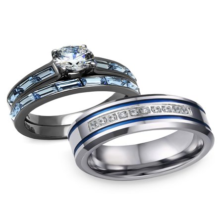 His and Hers 3 pcs Stainless Steel Romatic Blue Theme Couple Rings Wedding Band (Beach Themed Wedding Jewelry)
