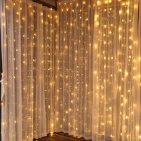 TORCHSTAR 9.8ft x 9.8ft LED Curtain Lights, Starry Christmas String Light, Icicle light, Fairy Light, Curtain light, Decorative Lighting for Room, Garden, Wedding, Christmas, Party, Soft White