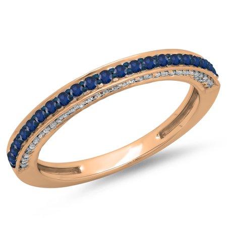14K Gold Round Cut Blue Sapphire & White Diamond Ladies Anniversary Wedding Band Stackable Ring