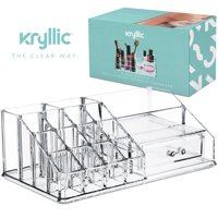 Acrylic Makeup Cosmetic Lipstick Organizer - Clear lip stick storage holder tray drawer for bathroom vanity countertop plastic stand cosmetics nail polish perfume brushes lipgloss caddy display.