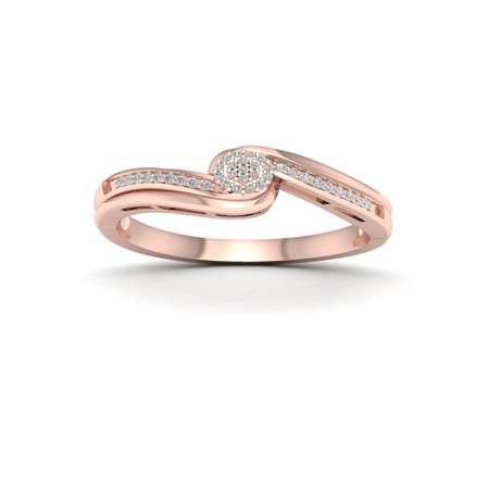 1/10Ct TDW Diamond 10k Rose Gold Bypass Ring