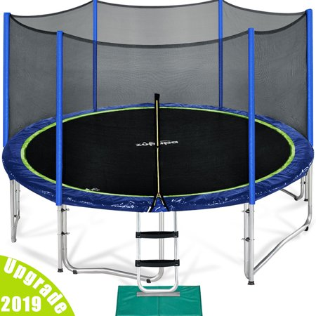 Zupapa 2019 Upgraded 15FT Trampoline with enclousre net ladder assembly tools, TUV (Pure Fun 15 Foot Trampoline And Enclosure Set)