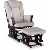 Storkcraft Swirl Tuscany Glider and Ottoman incl Lumbar Pillow, Taupe Cushions, Choose Your Finish