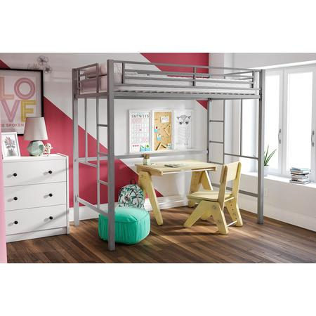 YourZone Metal Loft Bed, Twin Size, Multiple Colors - Low Loft Bunk Bed