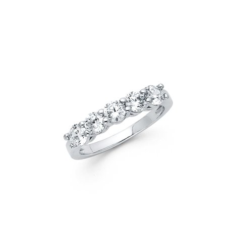 Jewels By Lux 925 Sterling Silver 5 Stone Round Prong Set Cubic Zirconia CZ Engagement Ring Size