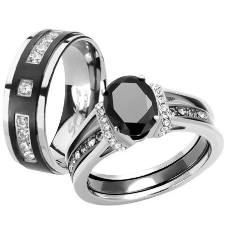 Her & His Black Cz Stainless Steel Wedding Engagement Ring & Titanium Band Set Women's Size 10 Men's Size 13 Black Cubic Zirconia Set