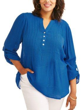 Women's Plus Pleat Front Button Blouse