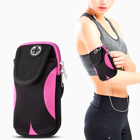 Insten Universal Adjustable Gym Sports Workout Armband Bag Phone Holder Case Cell Phone Pouch Pocket for Running Jogging Hiking Climbing Cycling Camping - Black/Pink