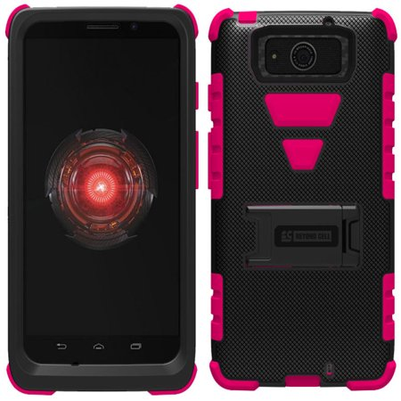 PINK TRI-SHIELD RUBBER SKIN HARD CASE STAND FOR MOTOROLA DROID MAXX DROID - Droid Tri Fighter