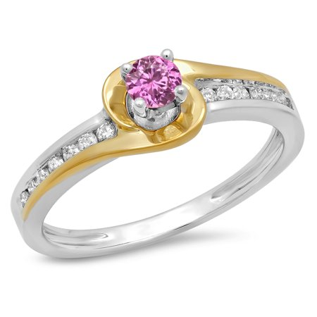 14K Two Tone Gold Round Cut Pink Sapphire & White Diamond Ladies Twisted Bridal Engagement Ring