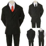 3a942d005 Infant Toddler Boys 6pc Wedding Formal Tuxedo Suit Black extra Red Necktie  S-20