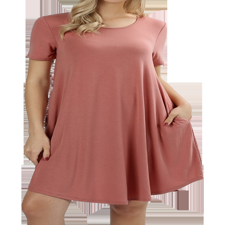 - Women Short Sleeve Round Hem A-Line Tunic Dress with Side Pockets