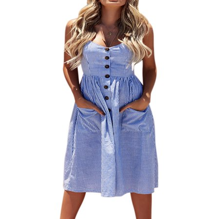 Women Summer Strap Sling Holiday Beach Party Button Through Long Smock Midi Sun - Smocked Corduroy Dress