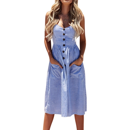 Women Summer Strap Sling Holiday Beach Party Button Through Long Smock Midi Sun Dress - Halloween Store Long Beach