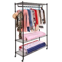 Hifashion 3-Tiers Heavy Duty Wire Shelving Garment Rolling Rack Clothing Rack with Double Clothes Rods and Lockable Wheels,Clothes Hanger Home Shelf Up to 400lb