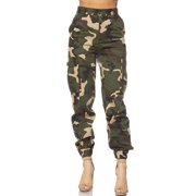 Womens Military Look Comfortable Camouflage Cargo Jogger Pants 21524-M-Camo (Short- 76cb906031