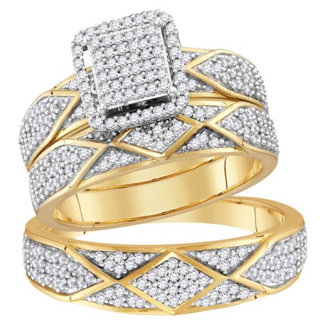Sizes - L = 4, M = 8 - 10k Yellow Gold Trio His & Hers Round Diamond Cluster Matching Bridal Wedding Ring Band Set (3/4 Cttw)