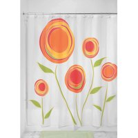 "InterDesign Marigold Fabric Shower Curtain, Standard 72"" x 72"", Orange/Red"