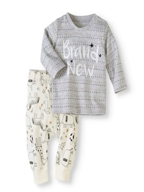 Newborn Baby Boy or Girl Unisex Long Sleeve Shirt & Pants, 2pc Outfit Set