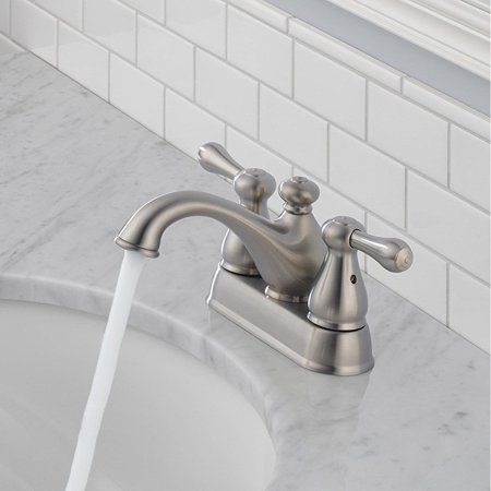 Delta Leland Two Handle Centerset Bathroom Lavatory Sink Faucet, Steel