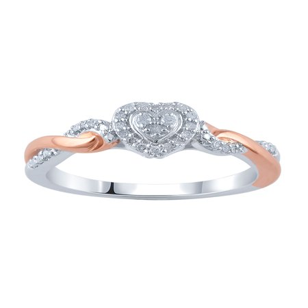 - 1/10 Carat T.W. Diamond Sterling Silver Heart Promise Ring