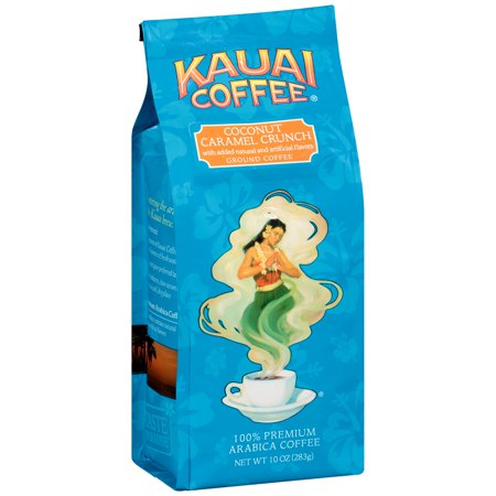 Kauai Coffee Coconut Caramel Crunch Hawaiian Ground Coffee, 10 Ounce -