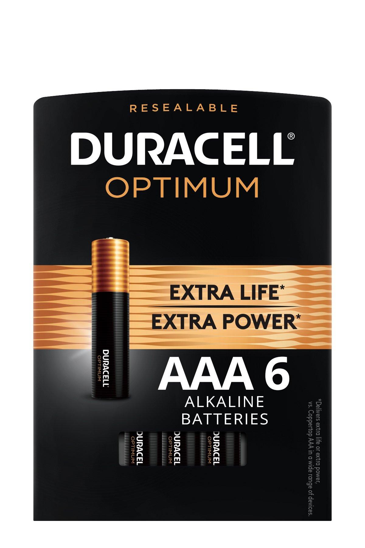 Duracell Optimum 1.5V Alkaline AAA Batteries, Convenient, Resealable Package, 6 Pack