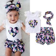 Cute Toddler Kids Clothes Newborn Baby Girls Floral Lace Vest Tank Tops +  Bottom Shorts Pants 8c6c6cdbbca