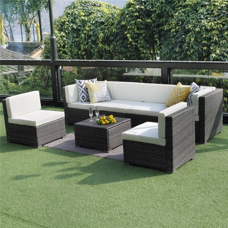 Prime Outdoor Conversation Set Patio Furniture 7Pcs Outdoor Gray Wicker Sofa Set Sectional Furniture Set With White Cushions Unemploymentrelief Wooden Chair Designs For Living Room Unemploymentrelieforg