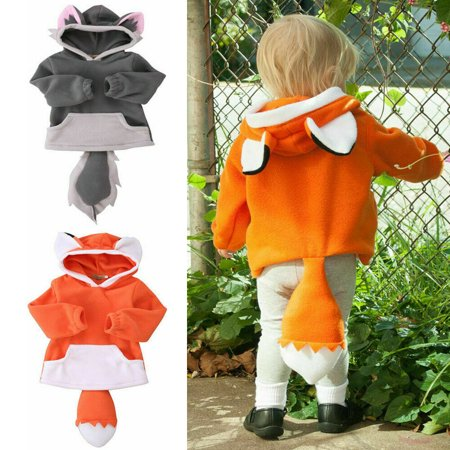 Kid Polar Fleece Animal Cartoon Hoodie With Ears Tails Hooded Coat Jacket Costume (Kids Polar Bear Costume)