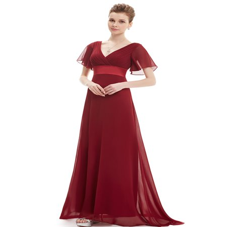 Ever-Pretty Womens Chiffon Short Sleeve Long Maxi Formal Evening Party Bridesmaid Dresses for Women 98903 Burgundy US4 Bridesmaid Womens Long Sleeve