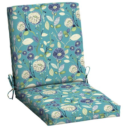 Mainstays Blue Floral 1 Piece Outdoor Dining Chair Cushion