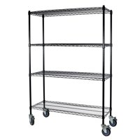 Storage Max Black Wire Shelving with Wheels, 18 x 36 x 63, 4 Shelves