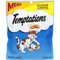 TEMPTATIONS Hairball Control Treats for Cats, Chicken Flavor, 4.9 oz. Pouch
