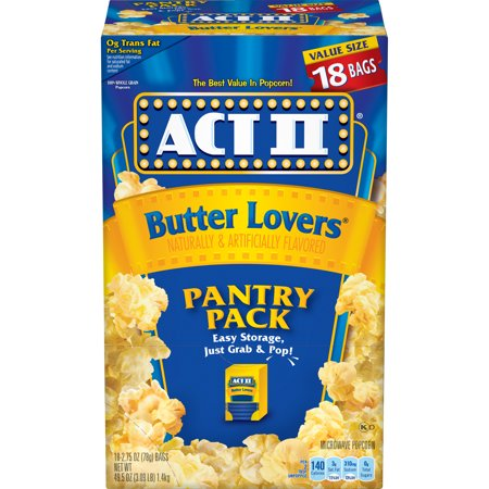 ACT II Butter Lovers Microwave Popcorn, 2.75 Oz, 18 Ct