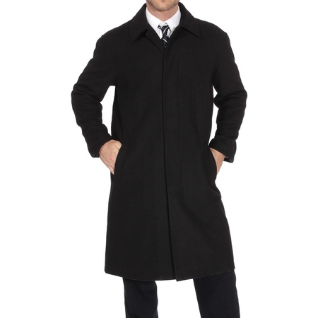 Alpine Swiss Men's Zach Knee Length Jacket Top Coat Trench Wool Blend Overcoat - Front Tie Wool Jacket