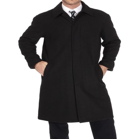 Alpine Swiss Men's Zach Knee Length Jacket Top Coat Trench Wool Blend (Blend Full Length Black Overcoat)