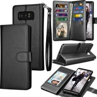 Galaxy Note 8 Case, Note 8 Wallet Case, Samsung Galaxy Note 8 PU Leather Case, Tekcoo Luxury Cash Credit Card Slots Holder Carrying Flip Cover [Detachable Magnetic Hard Case] & Kickstand - Black