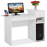 White Compact Computer Desk with Drawer and Shelf Small Spaces Home Office Furniture