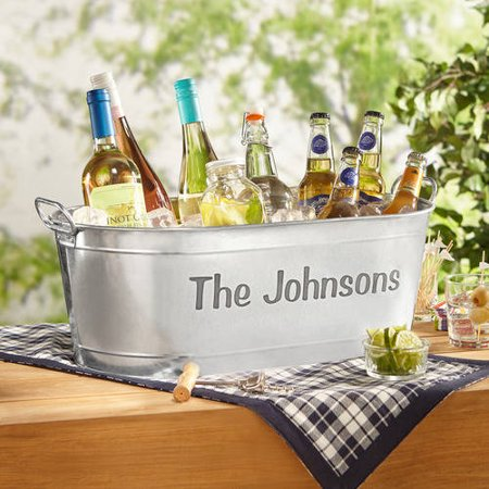 Personalized Galvanized Family Name Beverage Tub