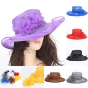 Fashin Women Dress Church Wedding Kentucky Derby Wide Brim Foldable Sun Hat  Beach 71410def674d