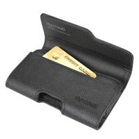 Premium Horizontal Leather Carrying Case Pouch Holster Wallet for Samsung Galaxy S6 Edge -Black - w/ Card Holder and Belt Clip and Belt Loops - ( Size Fits Phone with Slim Cover or Skin on)