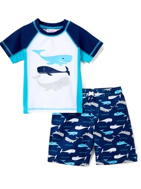 Whale Rashguard and Swim Trunk, 2-Piece Set (Toddler and Infant Boys)