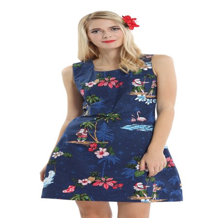 Hawaii Hangover Women's Tank Fit Dress S Christmas Dress Santa Navy - Cute Santa Dresses