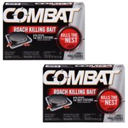 (2 pack) Combat Roach Killing Bait Stations for Small & Large Roaches, 12 Count