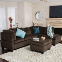 Gable Chocolate Fabric Sectional Set